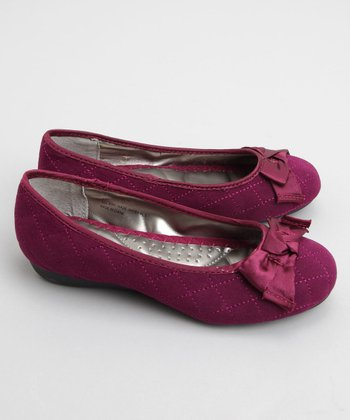 Wine Stacy Quilted Ballet Flat