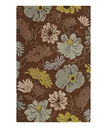 Chocolate Floral Ambiance Wool Rug