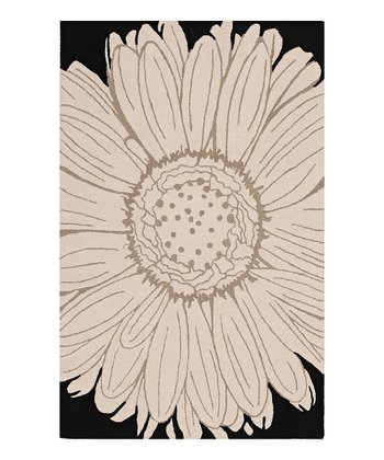 Black Single Bloom Ambiance Wool Rug