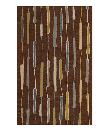 Chocolate Vertical Rods Ambiance Wool Rug