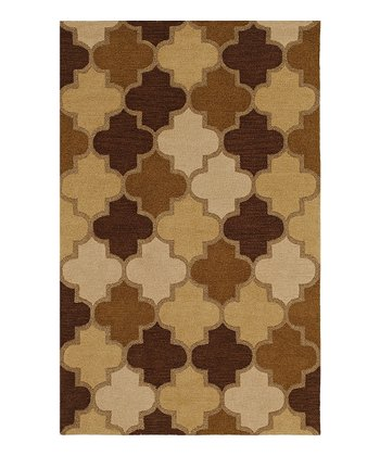 Taupe Interlocking Ambiance Wool Rug
