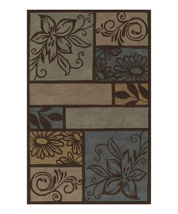 Chocolate Floral Flourishes Berkley Wool Rug