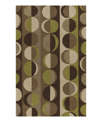 Chocolate Circle Stripes Berkley Wool Rug