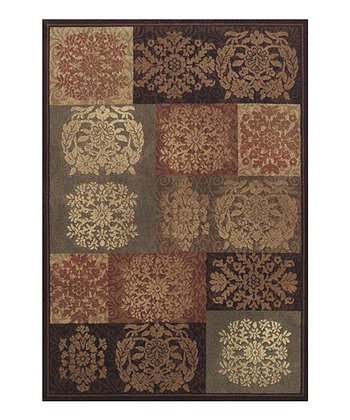 Sable Floral Blocks Capri Area Rug