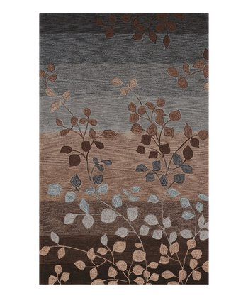 Mocha Botanical Stripe Studio Rug