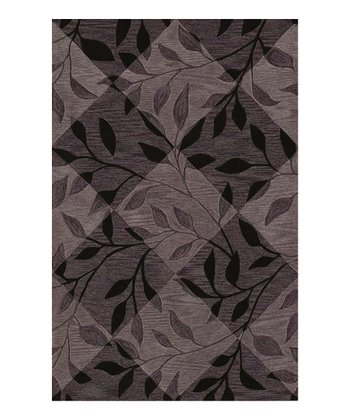 Black Checkerboard Leaf Studio Rug