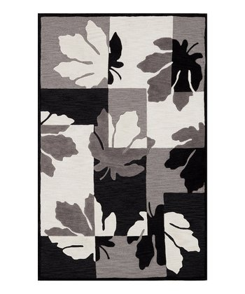 Black & White Leaves Studio Rug
