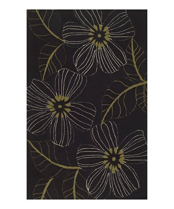 Black & Lime Floral Sanibel Rug