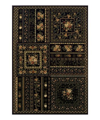 Chocolate Floral Blocks Wembley Rug