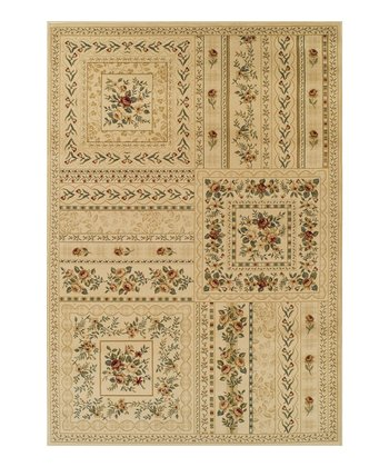 Ivory Floral Blocks Wembley Rug