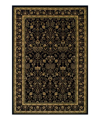 Black & Gold Border Wembley Rug