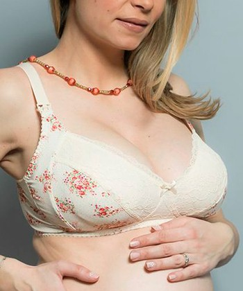 White & Pink Rose Soutien Gorge Wireless Maternity & Nursing Bra