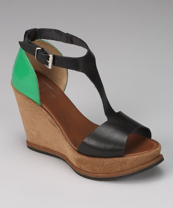 Brown & Green Cagney Wedge Sandal