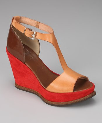 Nude & Red Cagney Wedge Sandal