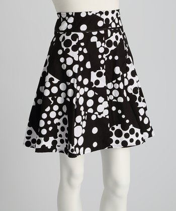 Black & White Dots A-Line Skirt