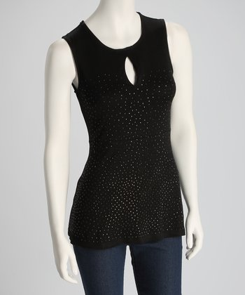 Black Shimmer Sleeveless Top