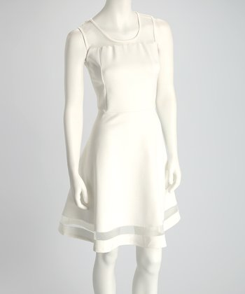 Off-White Scuba Mesh Sleeveless Dress