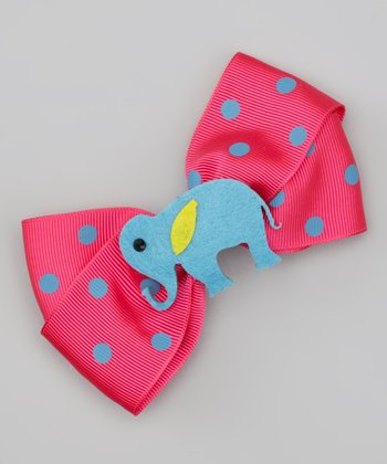 Blue & Hot Pink Elephant Bow Clip