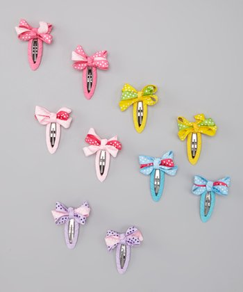 Pastel Rainbow Polka Dot Bow Clip Set