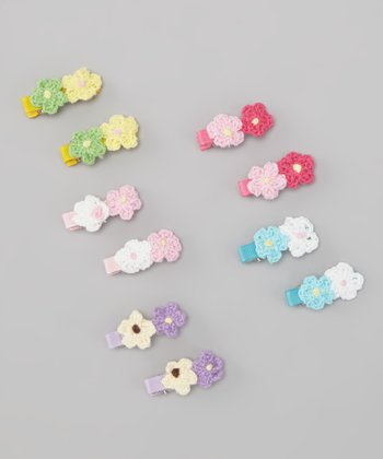Pastel Crocheted Mini Daisy Clip Set