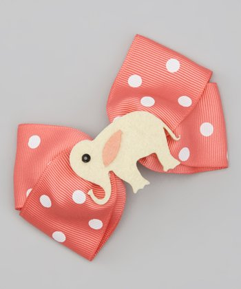 Pink & Cream Elephant Bow Clip