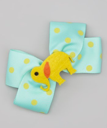 Aqua & Yellow Elephant Bow Clip