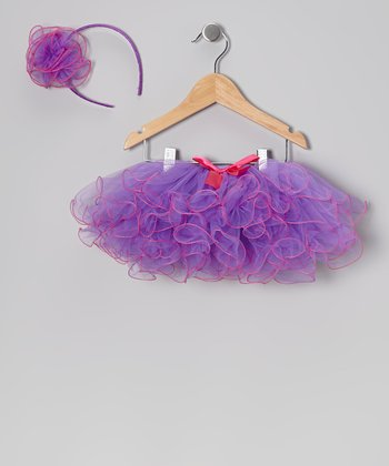 Purple & Pink Fluffy Tutu & Headband - Infant, Toddler & Girls