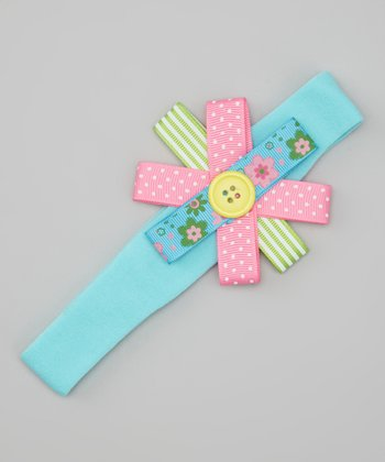 Aqua Button Bow Headband