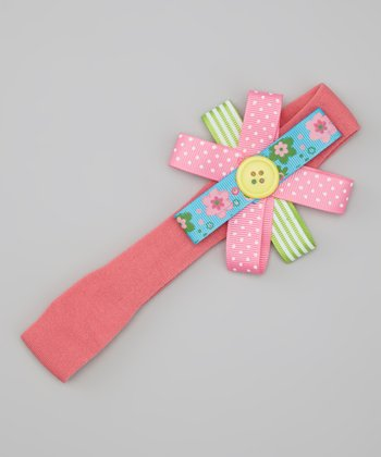 Coral Button Bow Headband