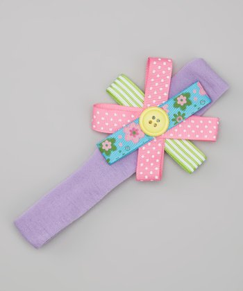 Lavender Button Bow Headband