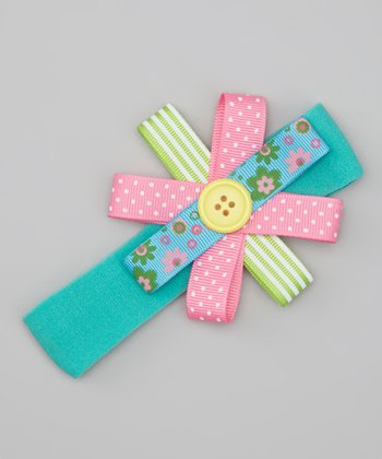 Teal Button Bow Headband