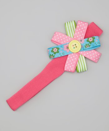 Hot Pink Button Bow Headband
