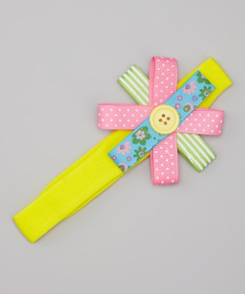 Yellow Button Bow Headband