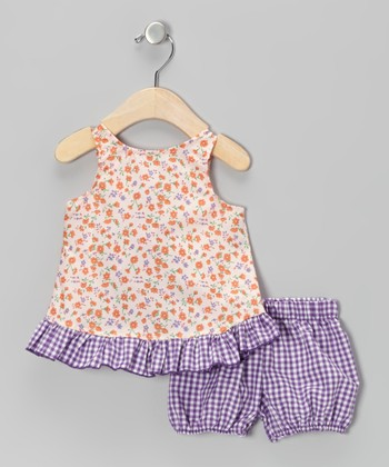 Orange Tiny Daisy Top & Bloomers
