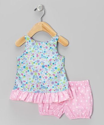 Pink Heart & Ribbon Top & Bloomers
