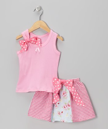 Pink & Blue Sweet Roses Tank & Skirt - Girls