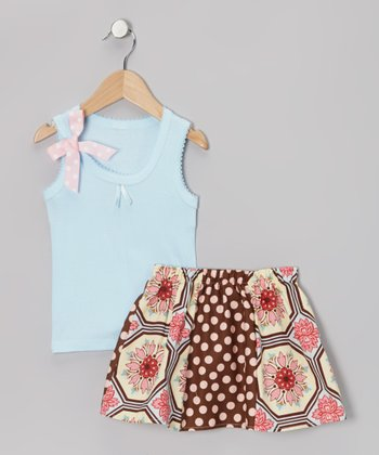 Blue & Ginger Tile Tank & Skirt - Toddler & Girls