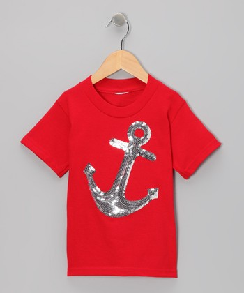 Red & Silver Sequin Anchor Tee - Toddler & Girls