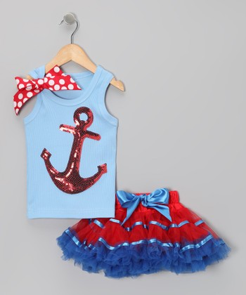 Blue Sequin Anchor Tank & Pettiskirt - Infant, Toddler & Girls