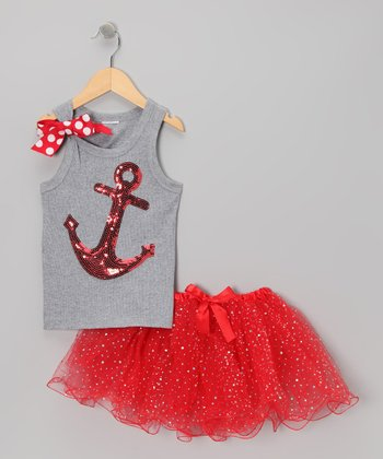 Gray & Red Sequin Anchor Tank & Tutu - Infant, Toddler & Girls