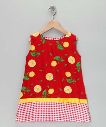 Red Lemon Shift Dress - Toddler & Girls