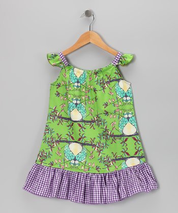 Green Owls Sundress - Toddler & Girls