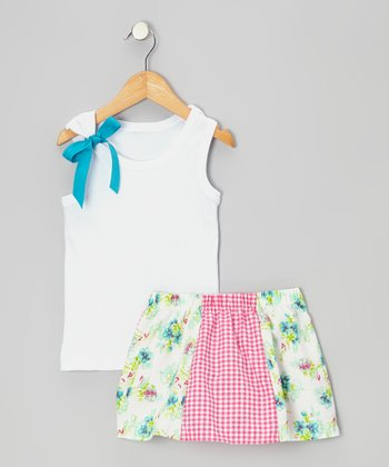 White Tank & Turquoise Floral Skirt - Toddler & Girls