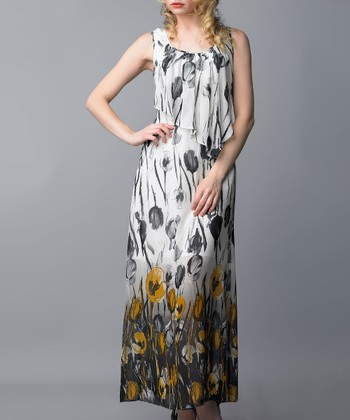 Yellow & Gray Tulip Ruffle Maxi Dress