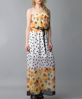Yellow Polka Dot Floral Strapless Maxi Dress