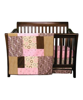 Pink Sweet Safari Crib Bedding Set