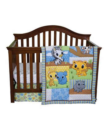 Green Riley Tiger & Friends Crib Bedding Set