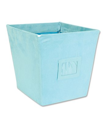 Turquoise Ultra Suede Medium Fabric Storage Bin