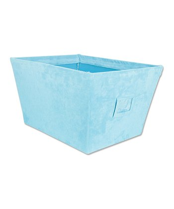 Turquoise Ultra Suede Large Fabric Storage Bin
