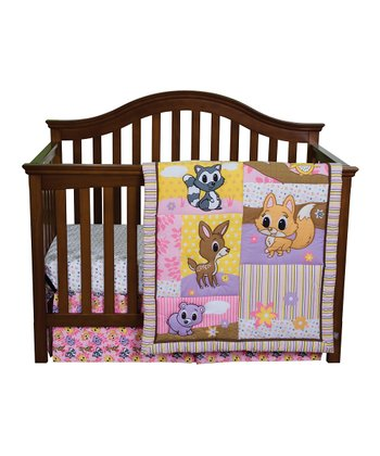 Pink Lola Fox & Friends Crib Bedding Set